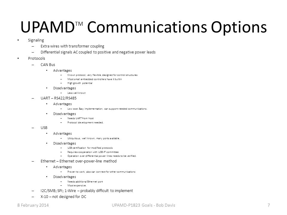 UPAMDTM Communications Options