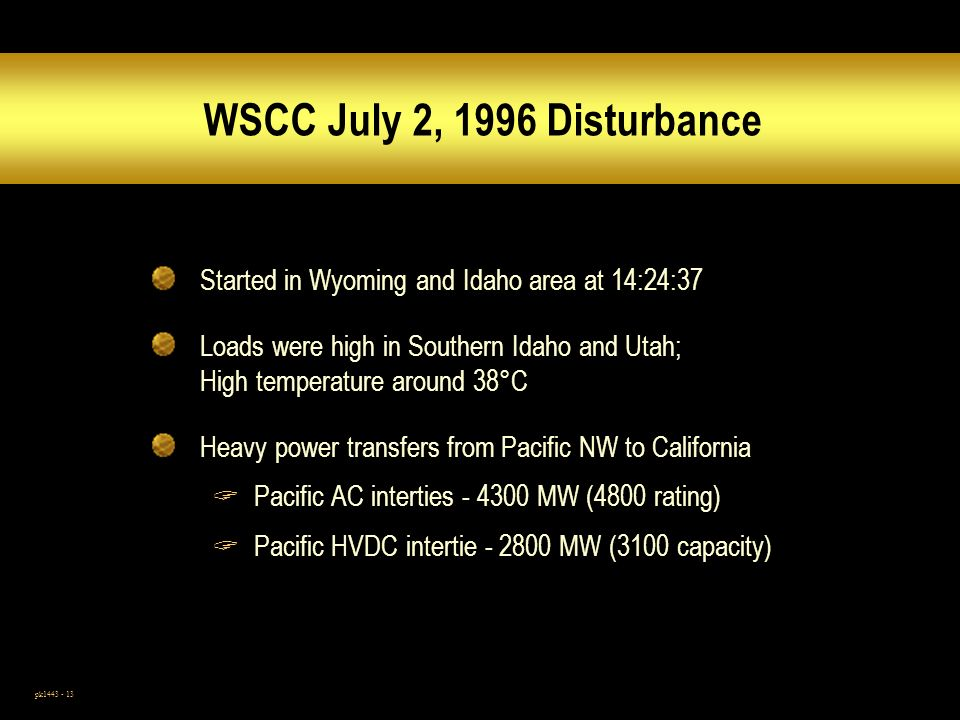 WSCC July 2, 1996 Disturbance Started in Wyoming and Idaho area at 14:24:37.