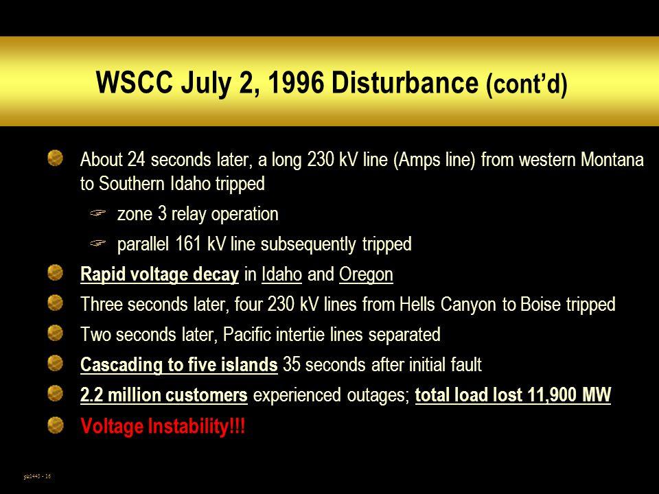 WSCC July 2, 1996 Disturbance (cont'd)