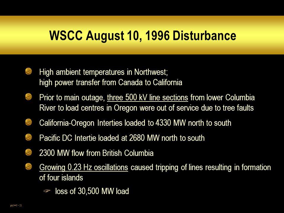 WSCC August 10, 1996 Disturbance