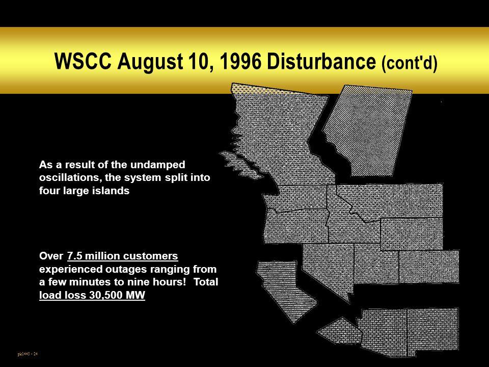 WSCC August 10, 1996 Disturbance (cont d)