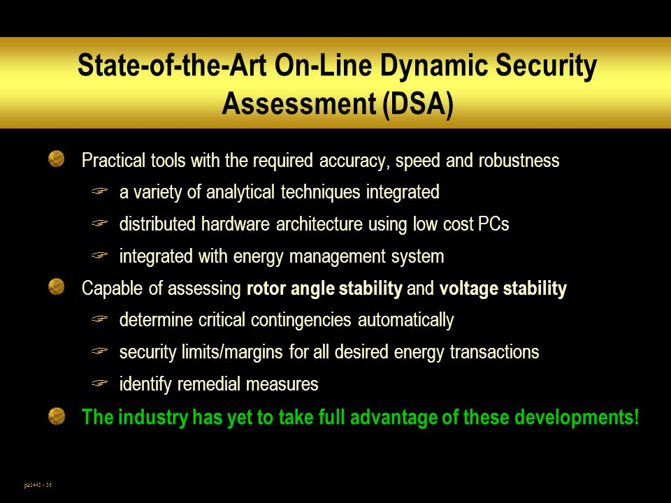 State-of-the-Art On-Line Dynamic Security Assessment (DSA)