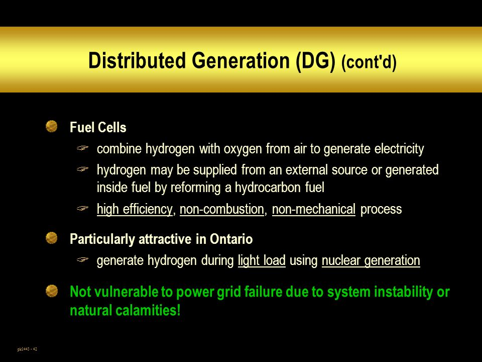 Distributed Generation (DG) (cont d)