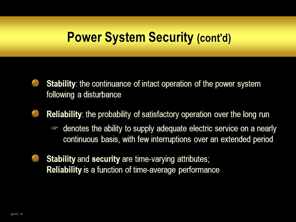 Power System Security (cont d)
