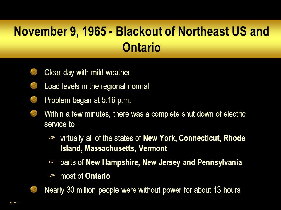 November 9, 1965 - Blackout of Northeast US and Ontario