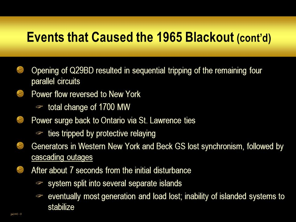 Events that Caused the 1965 Blackout (cont'd)