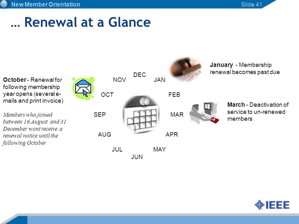 … Renewal at a Glance New Member Orientation Slide 41