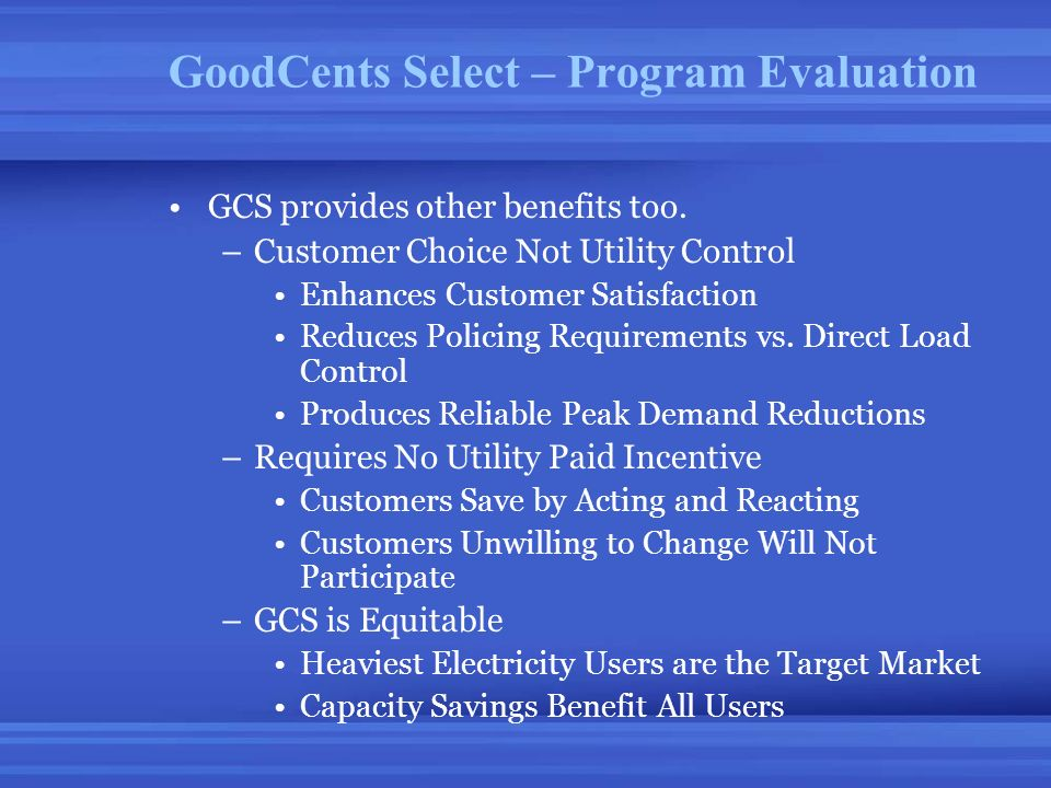 GoodCents Select – Program Evaluation