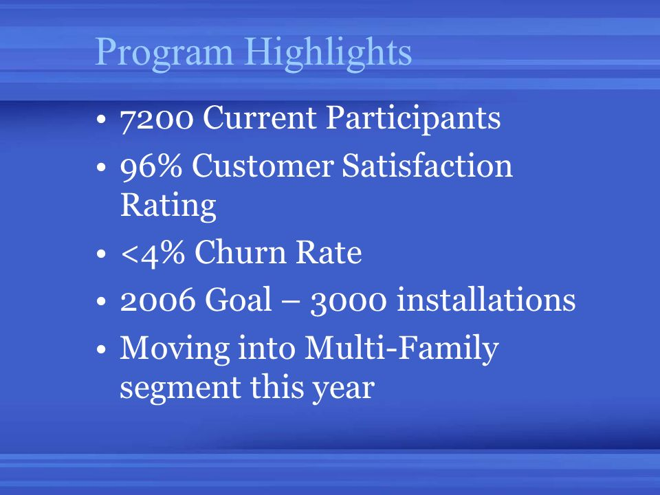 Program Highlights 7200 Current Participants