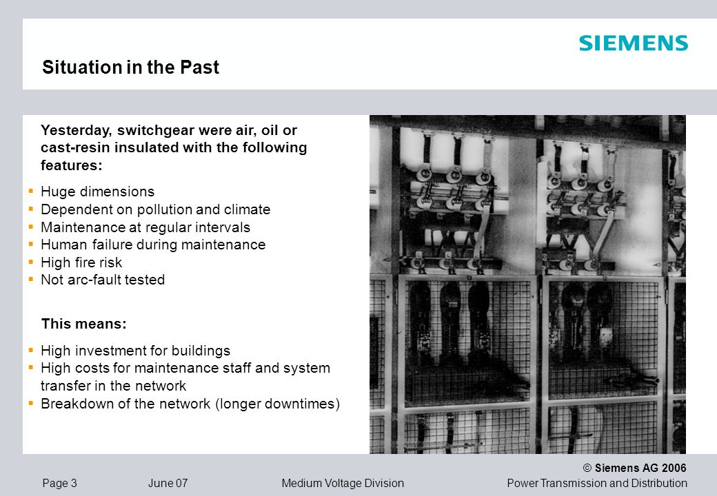 Situation in the Past Yesterday, switchgear were air, oil or cast-resin insulated with the following features: