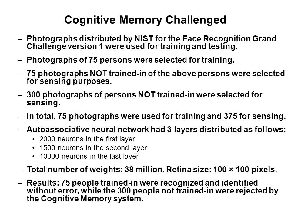 Cognitive Memory Challenged