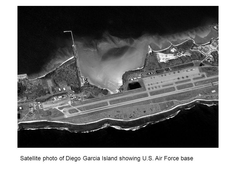 Satellite photo of Diego Garcia Island showing U.S. Air Force base