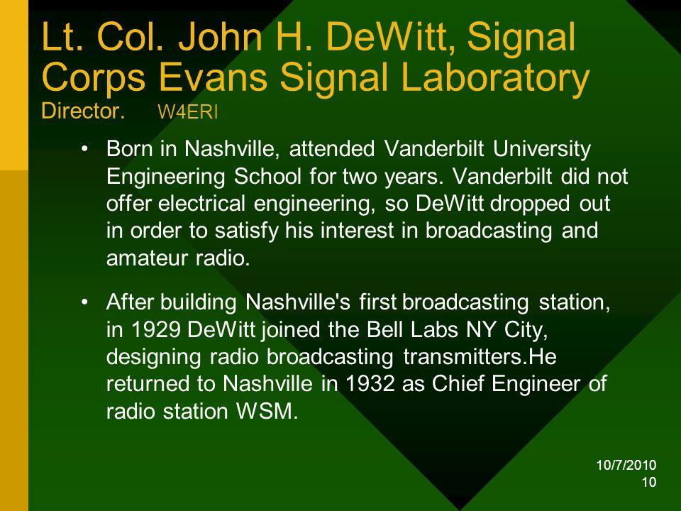 Lt. Col. John H. DeWitt, Signal Corps Evans Signal Laboratory Director