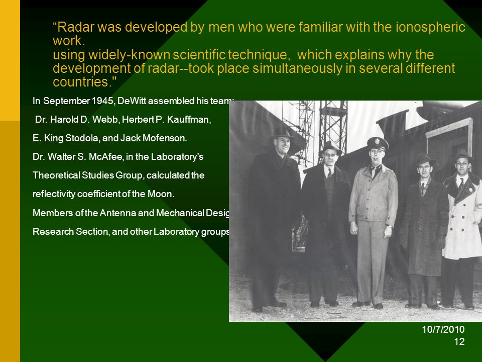 Radar was developed by men who were familiar with the ionospheric work. using widely-known scientific technique, which explains why the development of radar--took place simultaneously in several different countries.