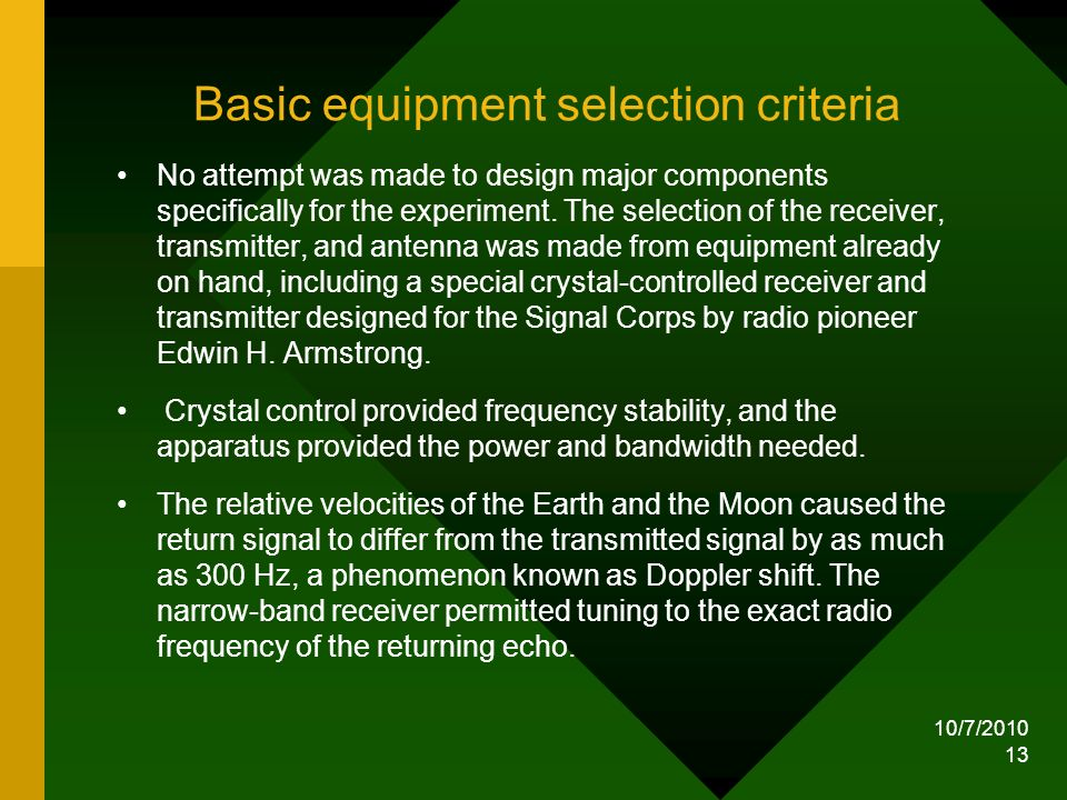 Basic equipment selection criteria