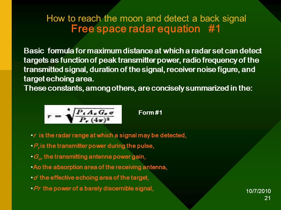 How to reach the moon and detect a back signal Free space radar equation #1