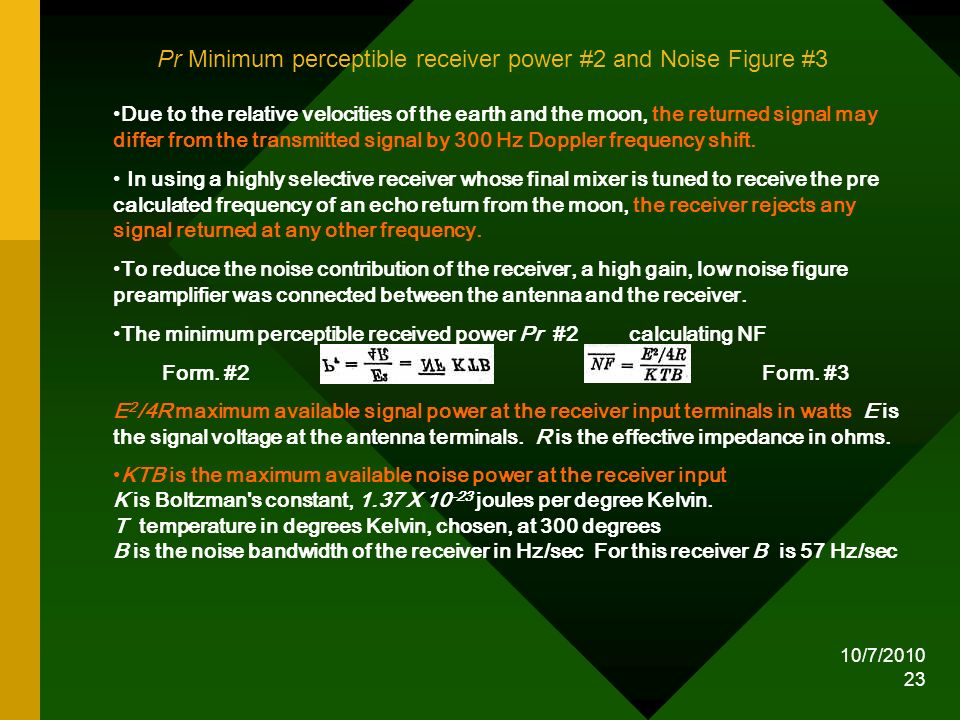 Pr Minimum perceptible receiver power #2 and Noise Figure #3