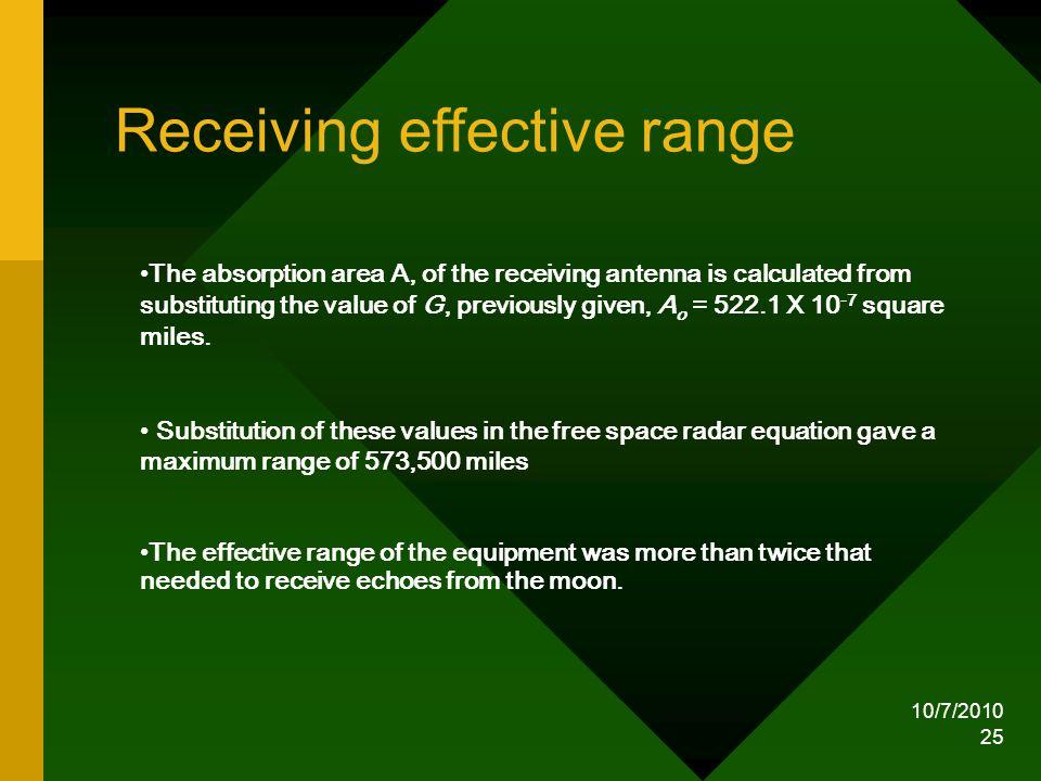Receiving effective range