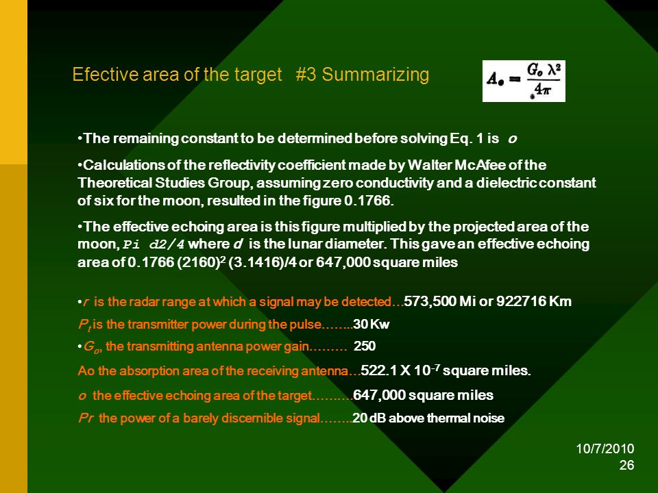 Efective area of the target #3 Summarizing