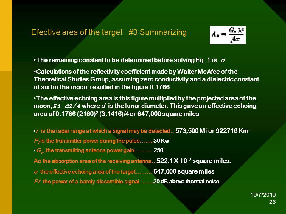Efective area of the target #3 Summarizing
