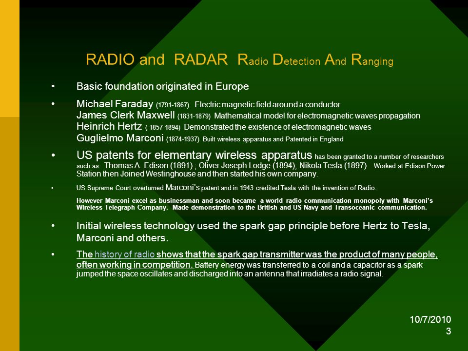 RADIO and RADAR Radio Detection And Ranging