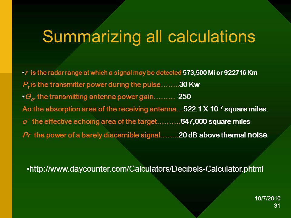 Summarizing all calculations