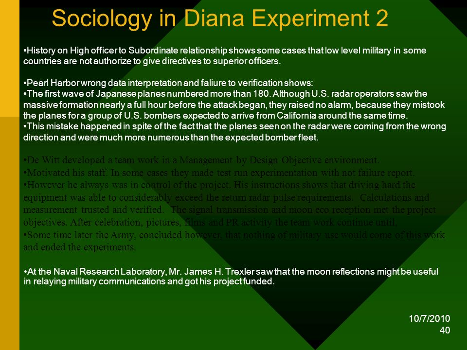 Sociology in Diana Experiment 2