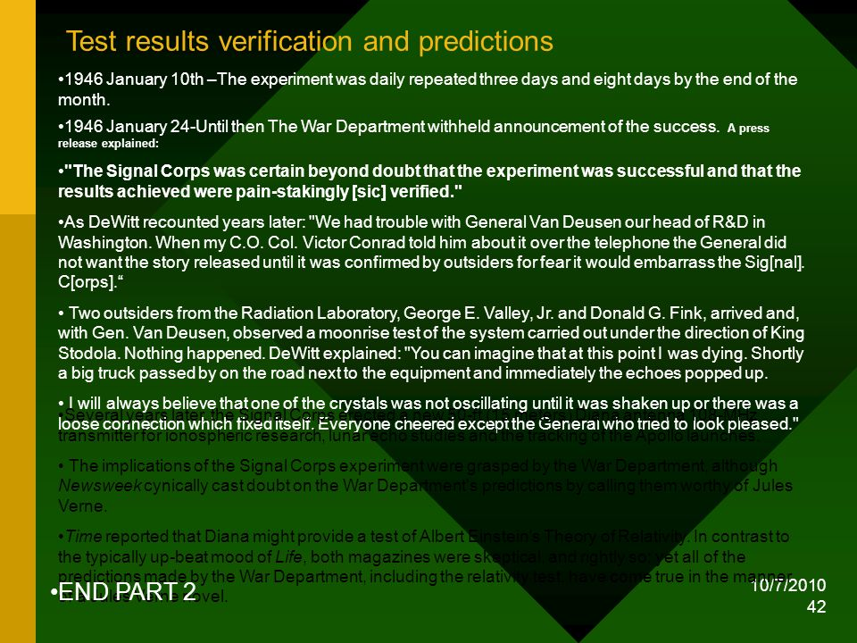 Test results verification and predictions