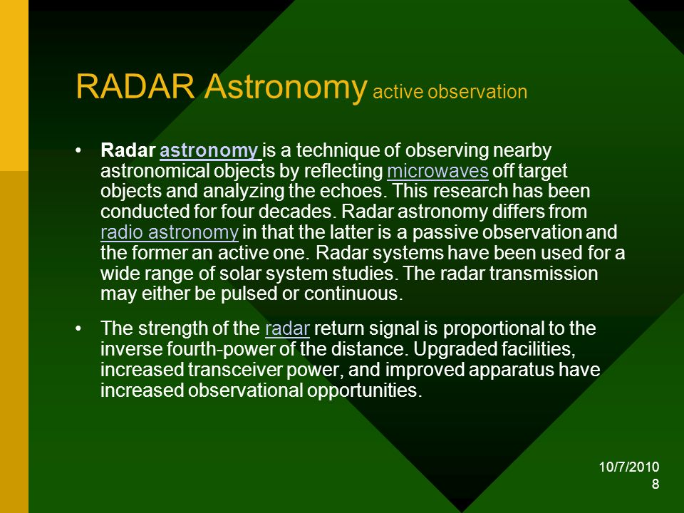 RADAR Astronomy active observation