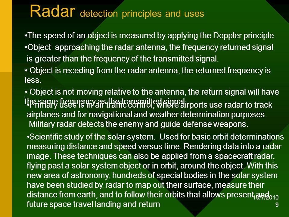 Radar detection principles and uses