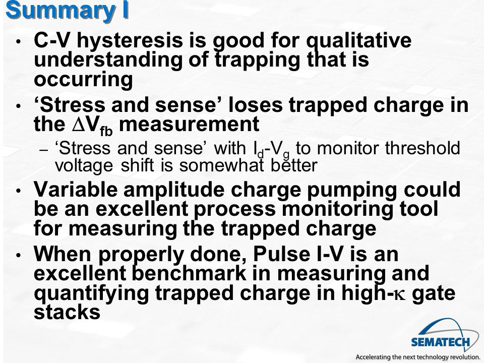 Summary I C-V hysteresis is good for qualitative understanding of trapping that is occurring.