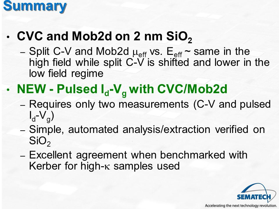 Summary CVC and Mob2d on 2 nm SiO2 NEW - Pulsed Id-Vg with CVC/Mob2d
