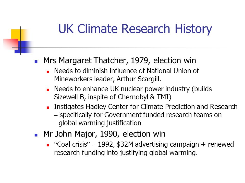 UK Climate Research History