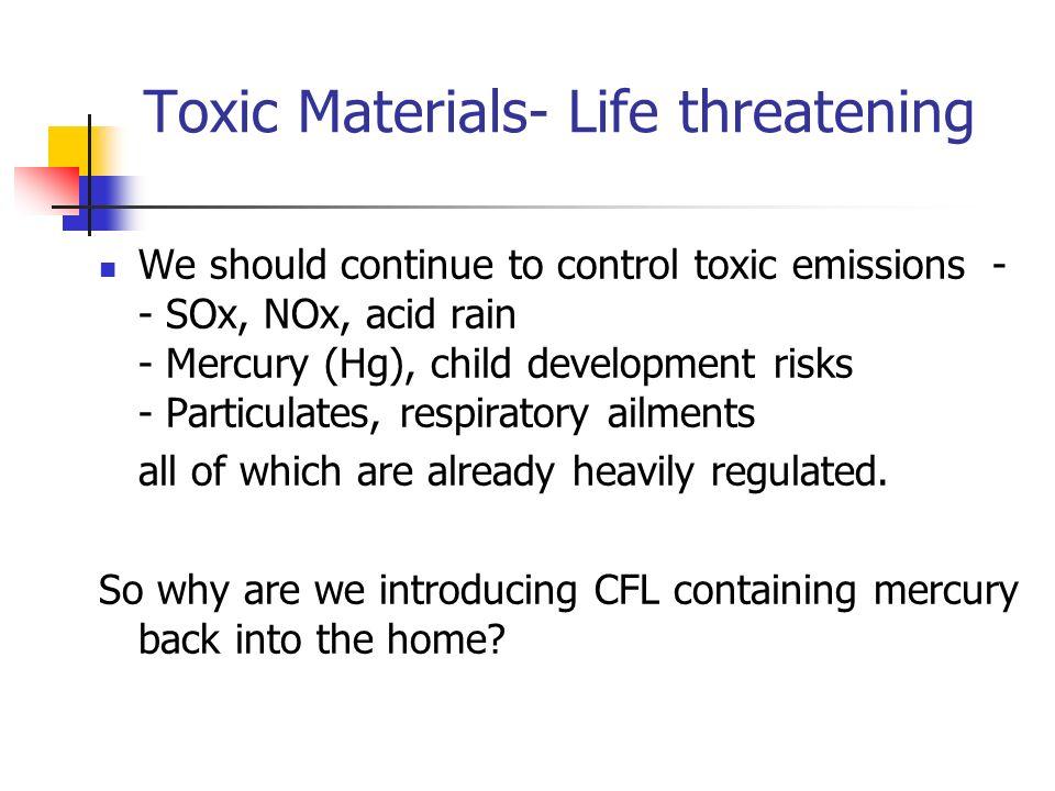 Toxic Materials- Life threatening