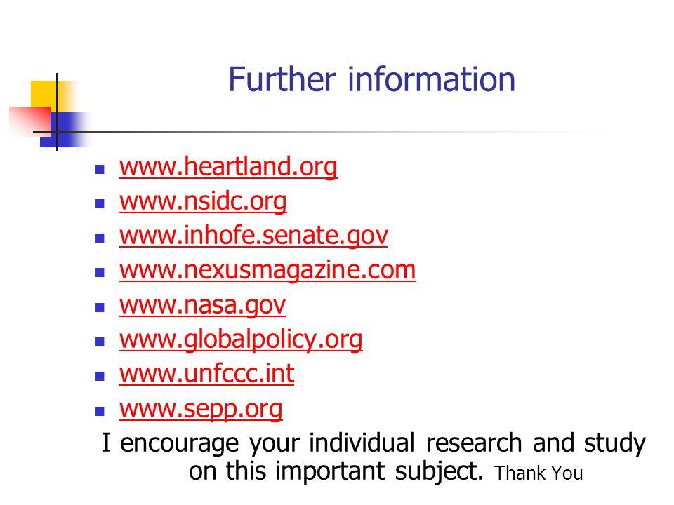 Further information www.heartland.org www.nsidc.org