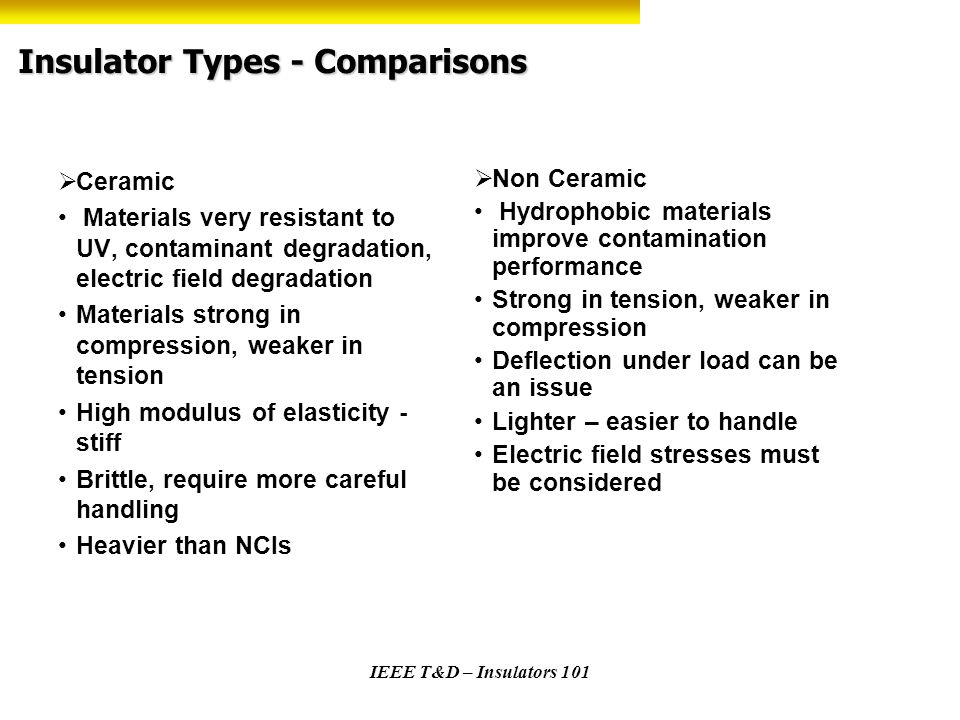 Insulator Types - Comparisons