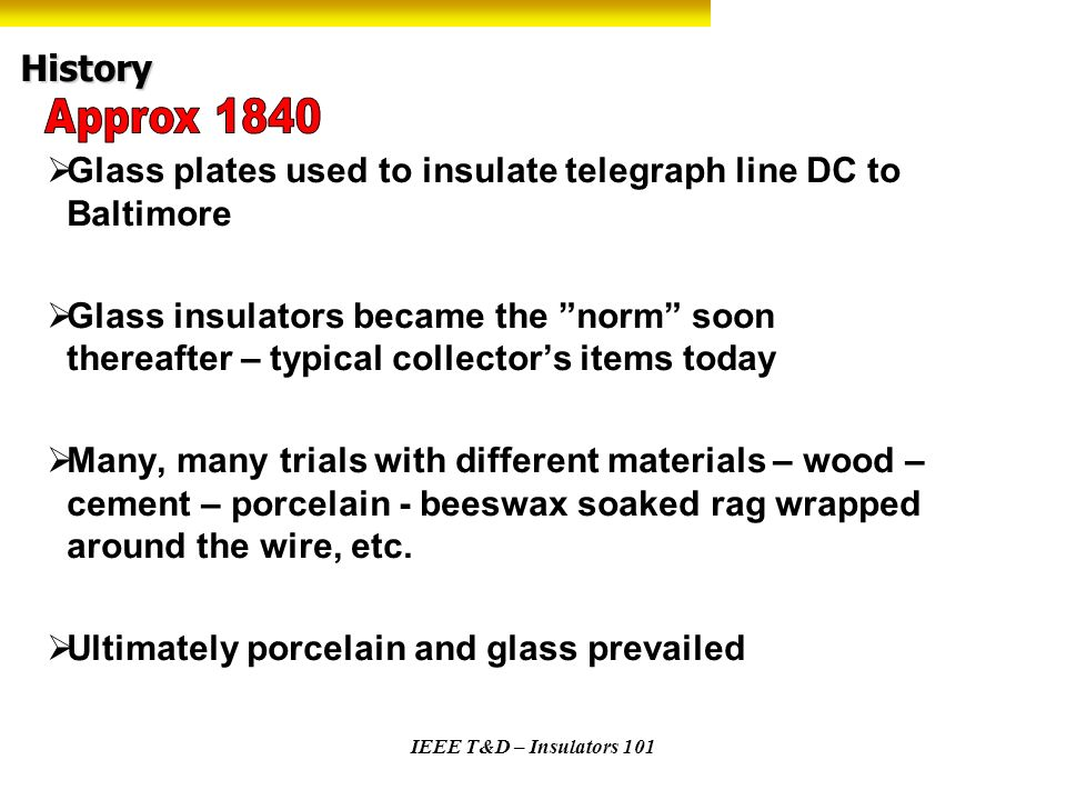 History Approx 1840. Glass plates used to insulate telegraph line DC to Baltimore.