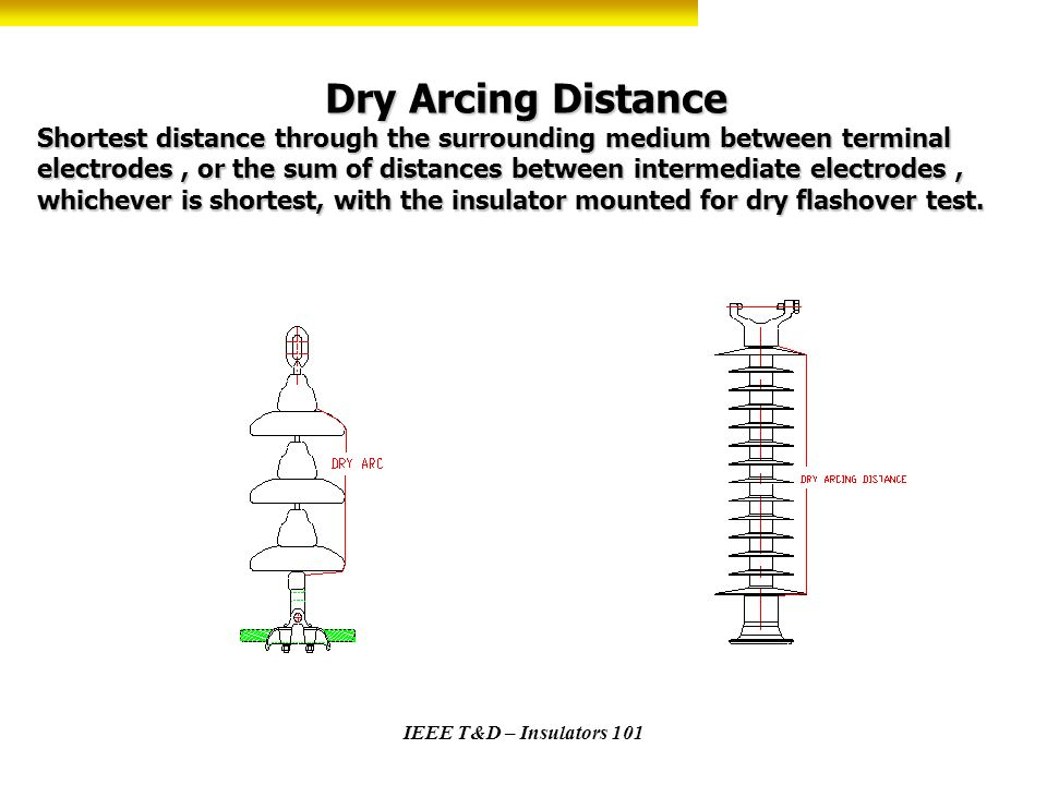 Dry Arcing Distance Shortest distance through the surrounding medium between terminal electrodes , or the sum of distances between intermediate electrodes , whichever is shortest, with the insulator mounted for dry flashover test.