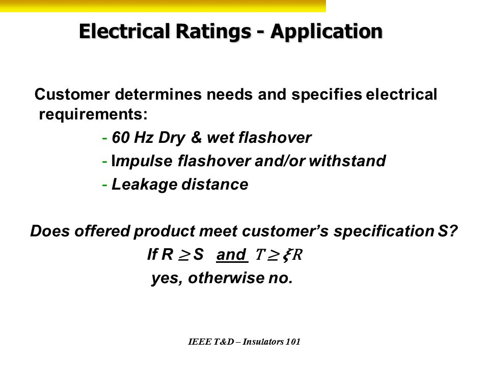 Electrical Ratings - Application