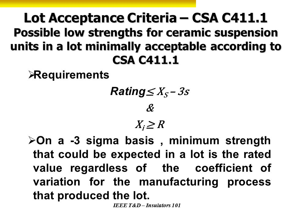 Lot Acceptance Criteria – CSA C411