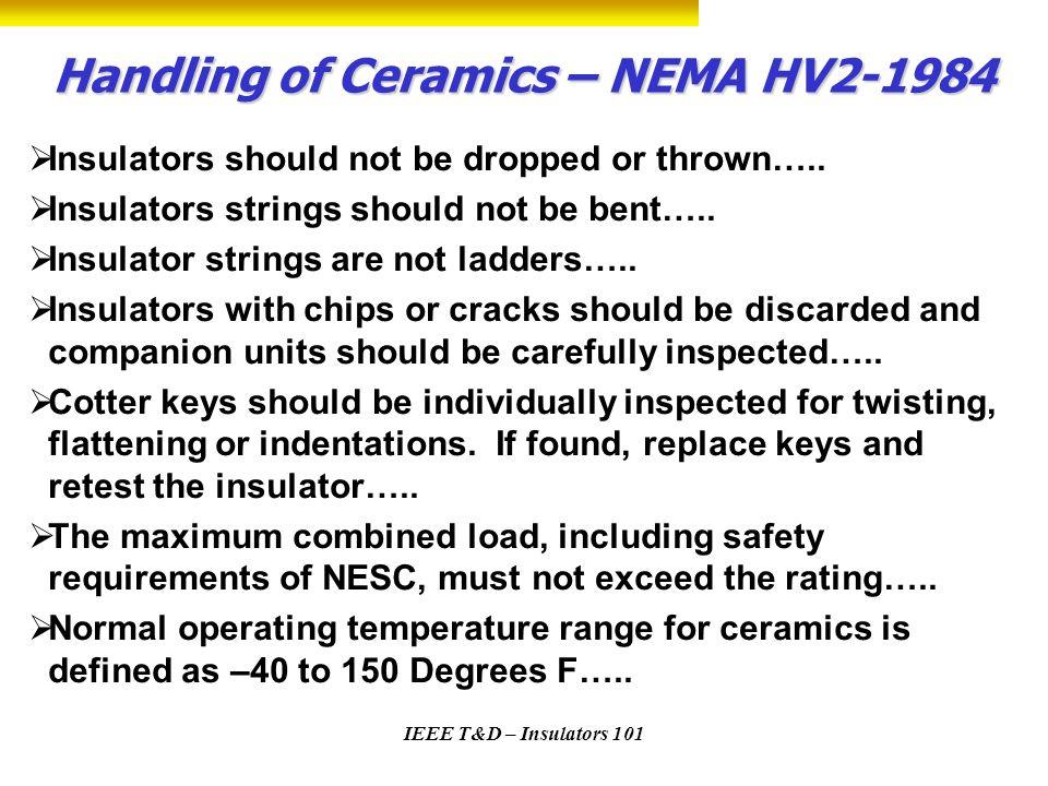 Handling of Ceramics – NEMA HV2-1984
