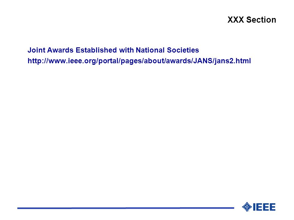 XXX Section Joint Awards Established with National Societies