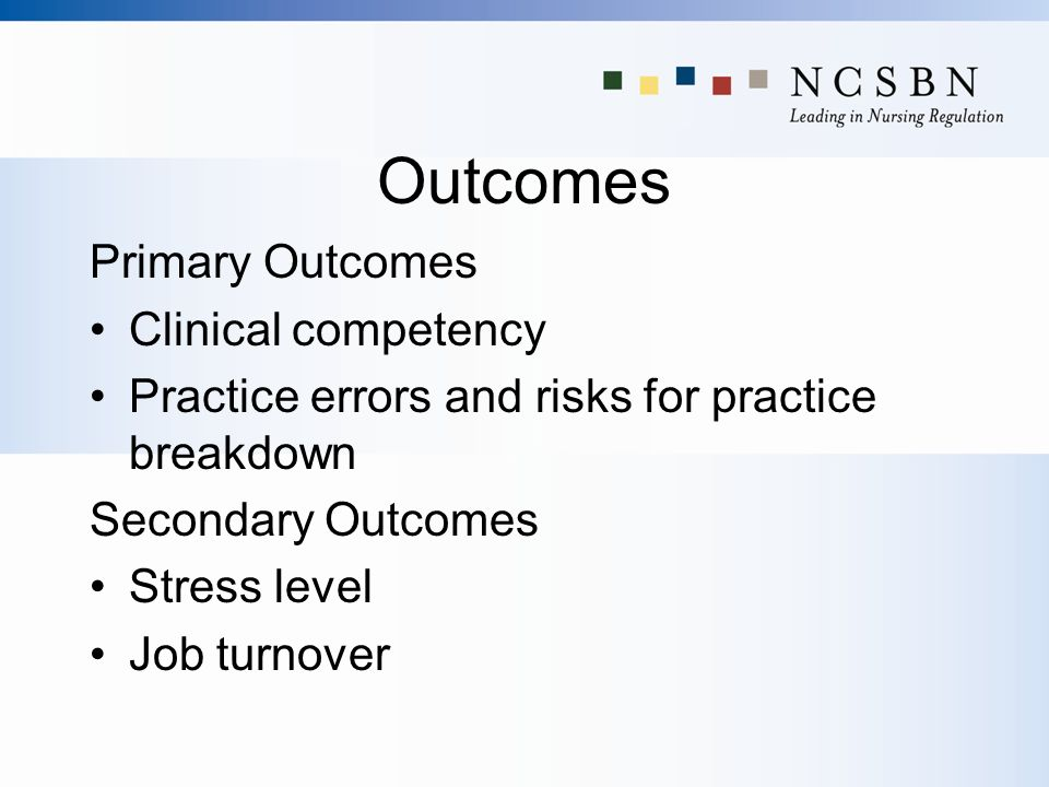 Outcomes Primary Outcomes Clinical competency