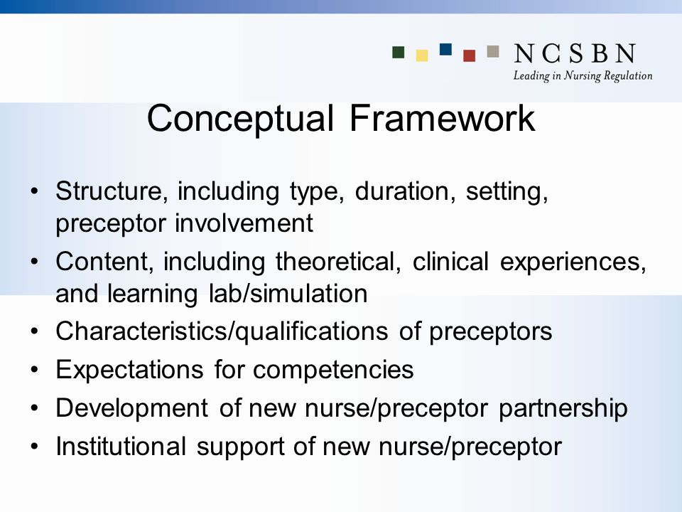 Conceptual Framework Structure, including type, duration, setting, preceptor involvement.