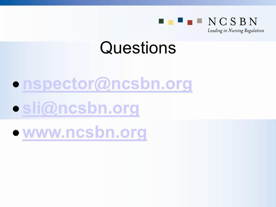 Questions nspector@ncsbn.org sli@ncsbn.org www.ncsbn.org