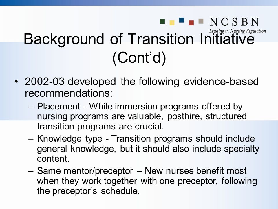 Background of Transition Initiative (Cont'd)