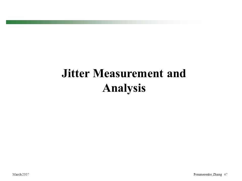 Jitter Measurement and Analysis