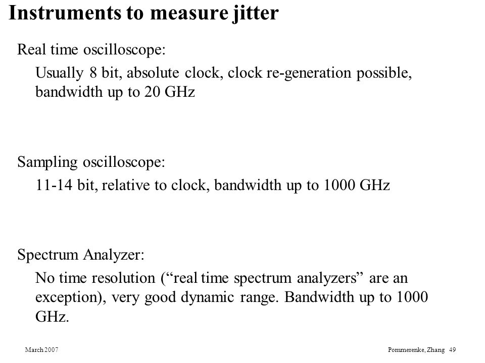 Instruments to measure jitter