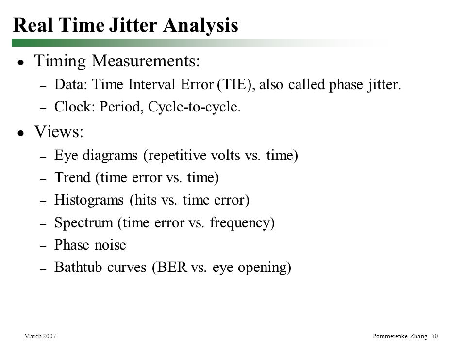 Real Time Jitter Analysis