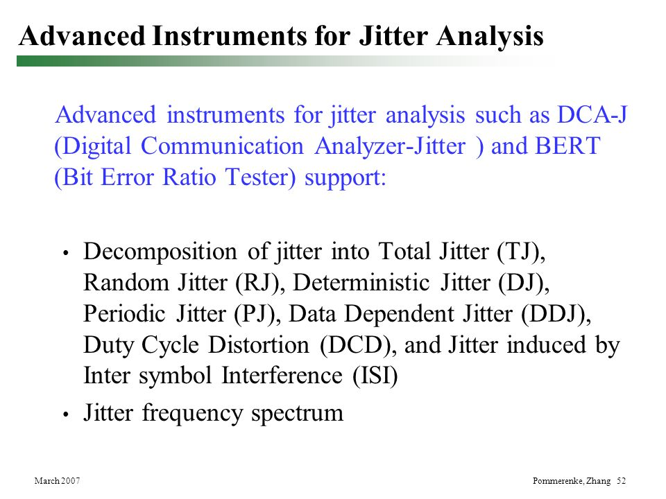 Advanced Instruments for Jitter Analysis